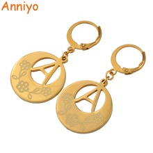 Anniyo (A-Z)Gold Color Initial Letter Earrings Women,English Alphabet Jewelry Gifts(BUY OTHER LETTERS OPEN ANOTHER LINK) #022921(China)