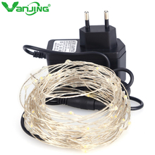 10M 100leds LED String Light Silver Wire Fairy Lights with 12V 1A Power Adapter Christmas New Year Wedding Decoration Lights