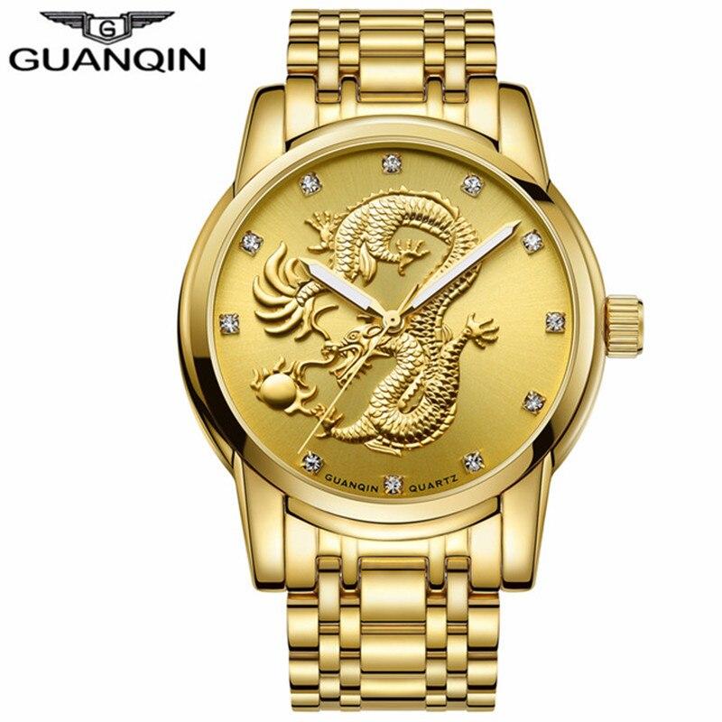 GUANQIN Dragon Watch Men Gold Quartz Wristwatch Luxury Brand Waterproof Male Clock Steel Watches for Men relogio masculino<br>