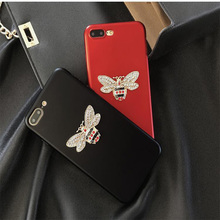 Luxury Little Bee Rhinestone Mobile Phone Case Coque For iphone 8 7 7Plus 6 6s Plus 5 5s SE Soft TPU Back Cover Red Black(China)