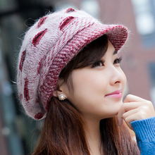 VEAMORS New Elegant Women Hat Winter&Fall Beanies Knitted Hats Rabbit Fur Cap,Female Fashion Autumn Ladies Crochet Hats Skullies