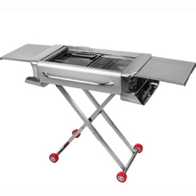 stainless steel drawbar design charcoal grill/big size foldable vehicle-mounted multifunction charcoal BBQ stove gadgets(China)