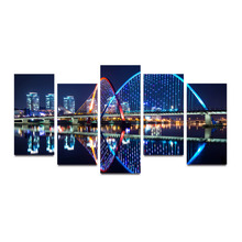 5 Panels Canvas Print LED Light Night City Rainbow Bridge Painting On Canvas Wall Art Picture Home Decor APR035(China)