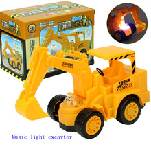 1:32 Children toys Universal Music light electric truck toy diecasts and toy vehicles boy excavator bulldozer toys kids gifts(China)
