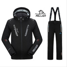 DHL FREE SHIPPING Guarantee authentic!Pelliot Male Ski Suits Jacket+Pants Men's Water-Proof, Thermal Cottom- Padded Snowboard(China)