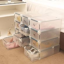 Storage Box Drawer Shoes Wrapped Plastic Type Transparent Plastic Shoes Box Drawer Storage Organizer Stackable Box(China)