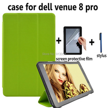 "Magnet closure smart leather cover case for Dell venue 8"" / 8 hd pro 3840 tablet+screen protector+screen pen stylus"