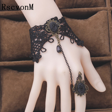 Vintage Gothic big gem stone black lace bracelets women party jewelry Vampire cosplay hand wristbands