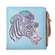 Hot!2016 New Women Vintage Zebra Coin Clip Purse ladies Short Wallet female Leather Clutch Handbag carteira Feminina#D(China)