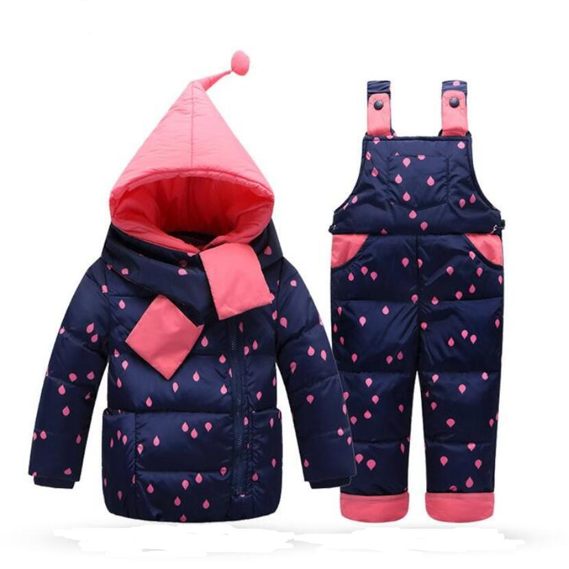 2017 New children winter clothing set baby boys girls Duck Down jackets/Parkas Bib sets Toddlers hooded coat pants for 1-3 years<br><br>Aliexpress