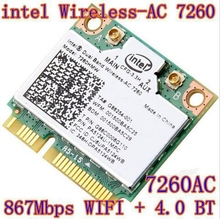 New Intel Dual Band Wireless-AC7260 ac7260 7260HMW 7260AC 7260ac 802.11ac MINI PCI-E Card 2.4G/5G 2x2 WiFi Bluetooth 4.0(China)