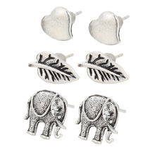 The new 3 sets of ancient peach tree leaves simple lovely Silver Elephant Earrings combination(China)