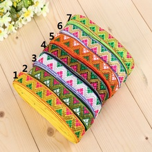 23mm 7/8' colorful gradient rhombus zigzag ethnic trim filigree lace bedding costume laciness national jacquard ribbon webbing