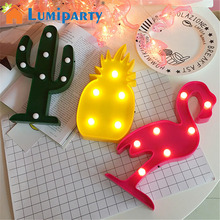 Lumiparty 3D LED Flamingo Lamp Pineapple Cactus Nightlight Romantic Night Light Table Lamp For Christmas Decorations Home Decor(China)