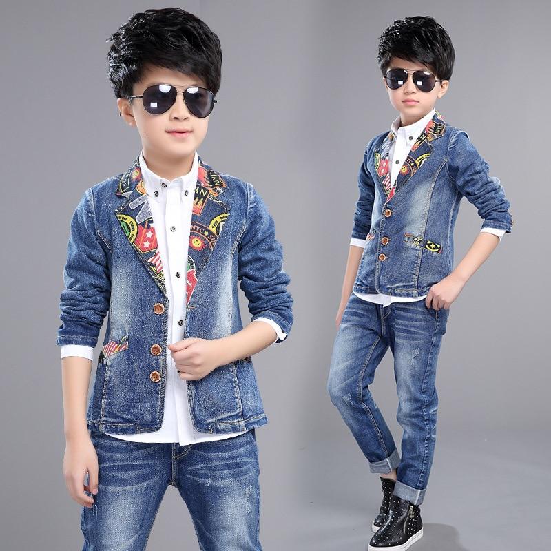 Fashion Style Baby Boy Jean Clothing Ser Print Turn-down Collar Coat + Jeans Kid Clothes Suit Children Spring Autumn Denim 2pcs<br><br>Aliexpress