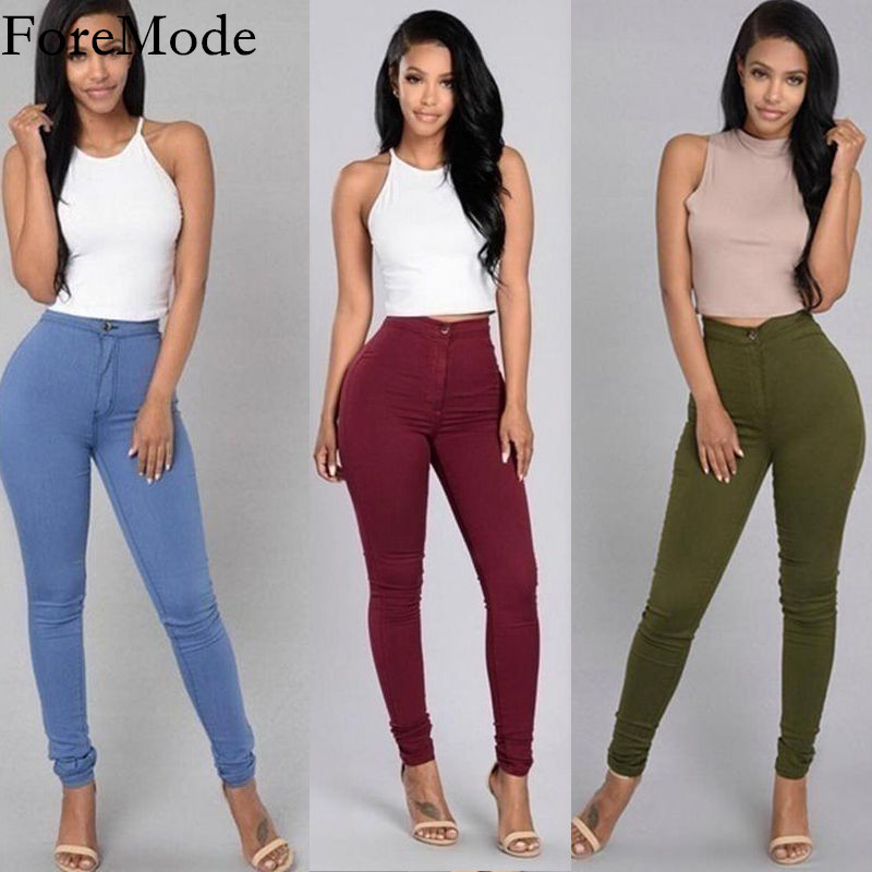Womens Slim Waisted Trousers Jeans 6 Colors Casual Jeans Vintage Denim PantsОдежда и ак�е��уары<br><br><br>Aliexpress