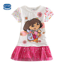 NOVATX Dress for girls kids clothing summer lace a-line o-neck dress dora costume children clothing roupas infantis menina H5099
