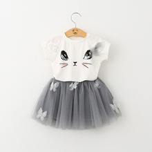 Hot Summer Girls Clothing Sets Cartoon Bear Leader Kitten Printed T-Shirts+Net Veil Skirt 2Pcs X16
