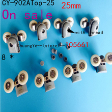 "On sale Set of 8 top Shower Door Rollers Wheels Pulley Runners Roller ""Rolli""25mm(China)"
