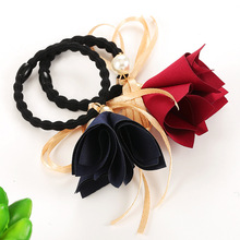 2017 4Pcs New Adult Fashion Korean Hair Bands Flower Handband Pearls Rubber Ropes Cloth Bowknot Hair Accessories for Women Girl
