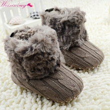 Baby Kid Boys Girls Knitted Fur Snow Boots 5 Color Toddlers Soft Sole Short Warm Soft Boots Shoes 0-18 Months(China)