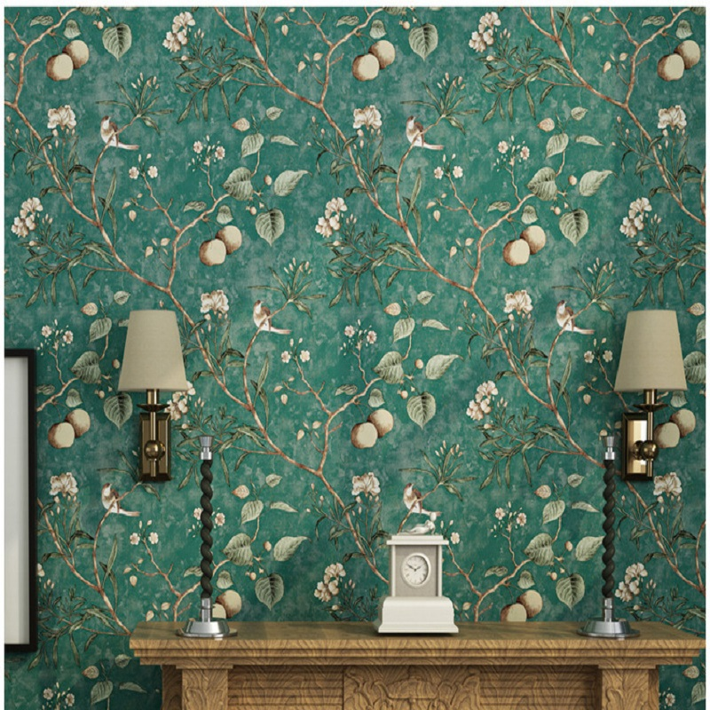 American style Wallpaper for walls flower with birds on branch background Wallpaper Rolls papel de parede Mural Wallpaper<br>