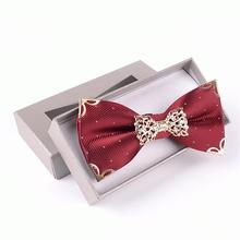 luxury metal bow tie Polyester Adjustable knot ties butterfly men's Decorated Neckwear boxed gift(China)