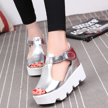 New 2017 Summer Fashion T-strap Fish Mouth Shoes Woman Single Shoes PU Leather Flock Sandals Women Shoes Platform Wedges Shoes