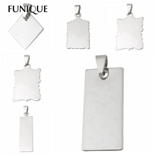 FUNIQUE Promotion Stainless Steel Silver Rectangle Stamping Blanks Dog Tag Statement Necklace For Unique Lettering Pendants10PCs