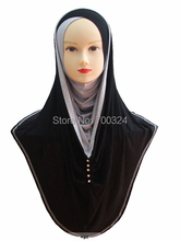 H748 latest jersey cotton muslim long hoody hijab with rhinestones,free shipping
