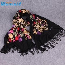 CharmDemon High Quality Women Embroidery Blended Cashmere Sarong Wrap Shawl Style Scarves st16