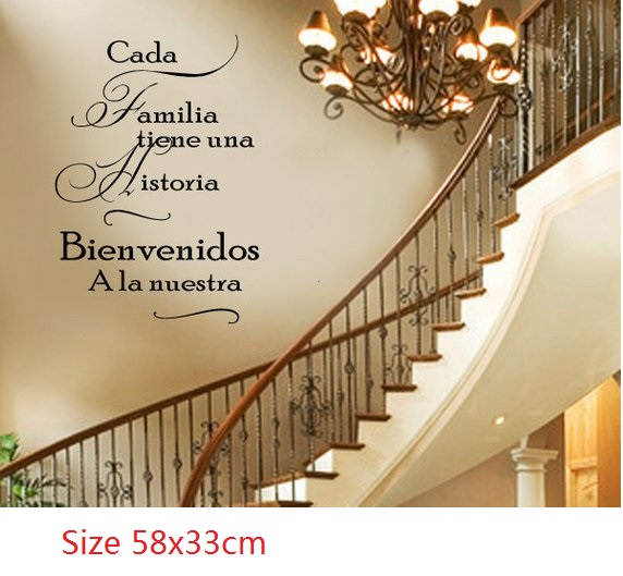 SPANISH Every Family Has a Story WELCOME to Ours Vinyl Wall Decal - Large Size Options Wall quotes