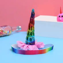 1PC Metallic Glitter Unicorn Chiffon Headband For Girls Kids Felt Hairband Party Headwear Hair Band Accessories Rainbow Color