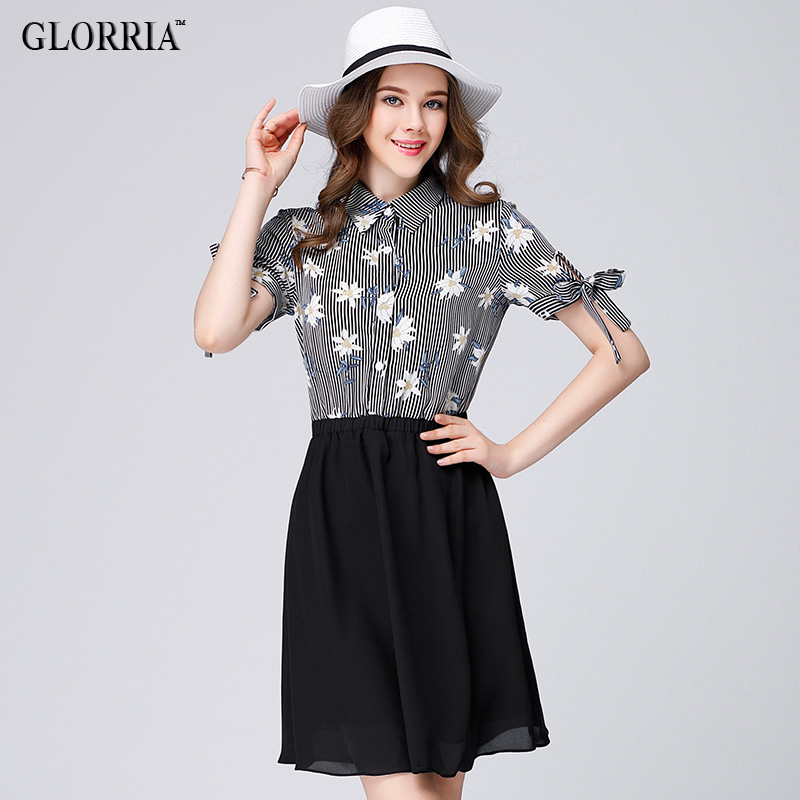 Glorria Women Striped Print Patchwork Bow Turn Dow...