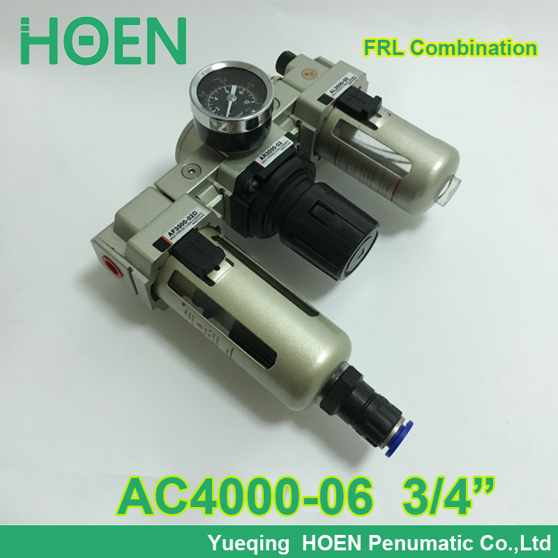 3/4Air Filter Regulator Combination AC4000-06 AC4000-06D F.R.L Three Union Air Source Treatment AF4000 + AR4000 + AL4000<br>