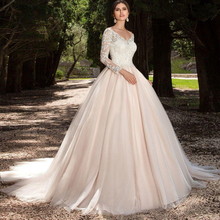 ZGS400 Sexy V neck wedding dresses 2017 Long Sleeves wedding dress Country western Vintage wedding gowns Custom made