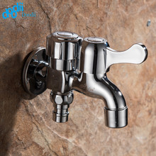 Doodii Brass Wall Mount Chrome Finished Small Tap Decorative Double Garden Faucet Washing Machine Tap Double Using Bibcock Taps(China)