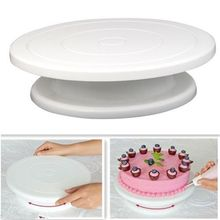 28cm Kitchen Cake Decorating Icing Rotating Turntable Cake Stand White Plastic Fondant Baking Tool DIY