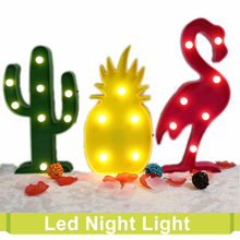 Christmas Lighted Marquee Letters 3D Flamingo Pineapple Cactus Wall Battery Lamp Table Romantic Kid's Room Decorative Nightlight