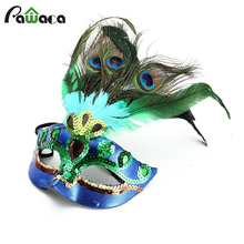 Party Mask Woman Female Masquerade Masks Luxury Peacock Feathers Half Face Mask Party Cosplay Costume Halloween Venetian Mask(China)
