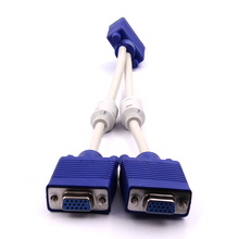 Lowest Price 1 computer to dual 2 monitor vga splitter cable video splitter 15 pin 2 vga male to female for PC TV(China)