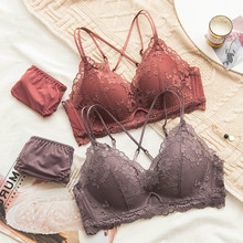 Buy Roseheart Winter Women Fashion Orange Cross Back Sexy Lingerie Cross Straps Cut Cotton Panties Wireless Bra Sets Underwear
