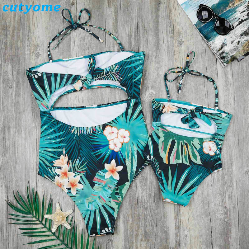 Family Matching Mother And Daughter Swimwear One-pieces Hollow Out Princess Kids Mommy And Me Beach Swimsuits Outfits Clothing (1)