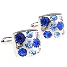 2017 New High Quality Cufflinks Two Color Combined Blue Crystal Cufflinks Square Cuff Links For Mens Cufflink Shirts(China)