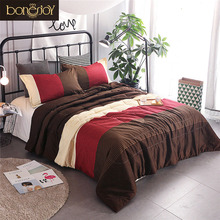 Bonenjoy Striped Comforter Sets Red Colorful Quilted Duvet With Pillowcase For Summer Used Thin Filling Bedspread Set Queen Size(China)