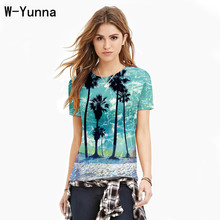 W-Yunna Hot Seaweed Coconut Tree Digital Printing Quick-drying Round Neck T-shirt Large Size Short Sleeve Sports Bottoming Shirt