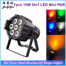 8pcs/Lot Free Shipping Disco Club LED Stage Party Lighting Stage Wash Effect 7pcs*15W RGBWA 5In1 Mini LED Indoor Par36 Light BY-