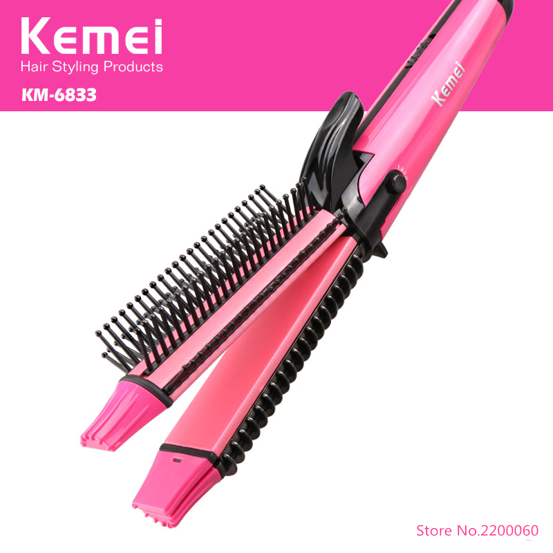 New Electric Brush Straightening curling Iron 3 in 1 curlers Rollers Comb hair straightener corn hair clip Styling Tools KM-6833<br>