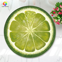 LUCKY TEXTILE green fruit round carpet antiskid soft carpets big floor mat for living room computer chair bedroom home decor