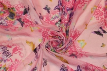 150cm width printed soft chiffon fabric butterfly with flower rose pink CH194-G for scarf and headb